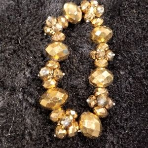 Golden amber beaded elastic bracelet